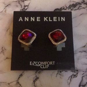 Anne Klein ruby colored clip on earrings